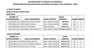 Majina ya Wanafunzi Waliochaguliwa Kidato cha Kwanza 2021 | Form One Selection 2021